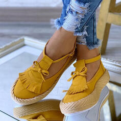 Women's Suede Flat Heel Flats With Bowknot Tassel shoes