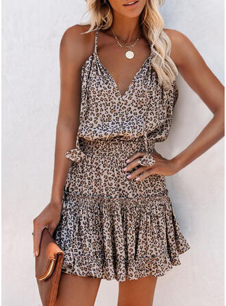 Leopard Sleeveless A-line Above Knee Casual Slip/Skater Dresses